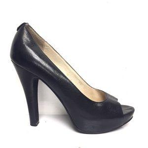 MICHAEL KORS Leather Peep Toe Platform Heels 7.5